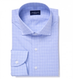 Firenze 120s Sky Blue Multi Grid Fitted Dress Shirt