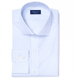 Grandi and Rubinelli 170s Light Blue Grid Tailor Made Shirt