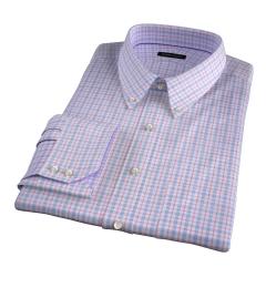 Novara Blue and Hibiscus Check Men's Dress Shirt