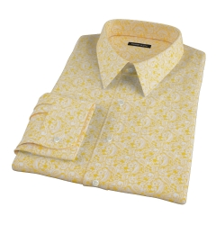 Canclini Orange Yellow Paisley Print Dress Shirt