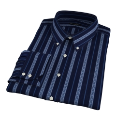 Albini Navy Folk Stripe Dress Shirt