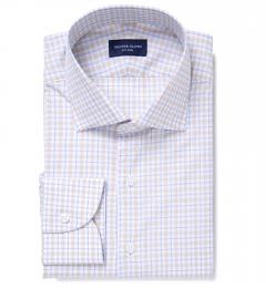 Novara Beige and Light Blue Check Tailor Made Shirt