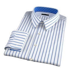 Canclini Slate Blue Wide Stripe Fitted Shirt