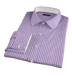 Grandi and Rubinelli 120s Red Blue Check Custom Dress Shirt