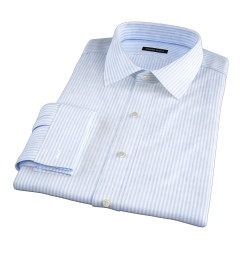 140s Light Blue Wrinkle-Resistant Bengal Stripe Men's Dress Shirt