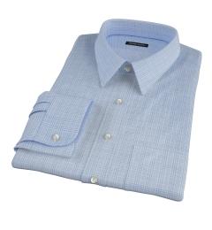 Thomas Mason Light Blue Glen Plaid Men's Dress Shirt