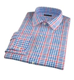 Canclini Orange Blue Plaid Linen Fitted Dress Shirt