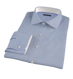 Blue Wrinkle-Resistant Cavalry Twill Fitted Dress Shirt