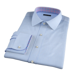 Melrose 120s Light Blue Mini Gingham Dress Shirt