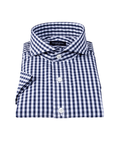 Dark Navy Gingham Tailor Made Shirt