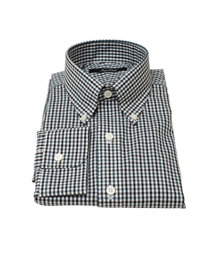 Green and Black Gingham Twill Men's Dress Shirt