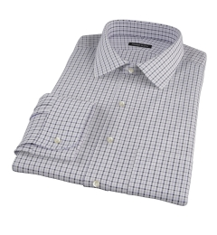 Canclini Grey and Black Multi Gingham Fitted Dress Shirt