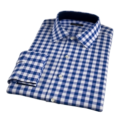 100s Royal Blue Large Gingham Dress Shirt