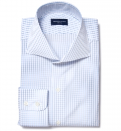 Thomas Mason Light Blue Grid Men's Dress Shirt