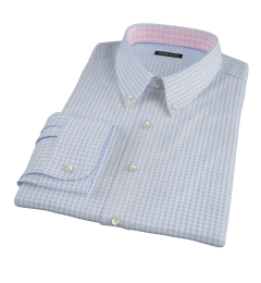 Medium Light Blue Gingham Custom Dress Shirt