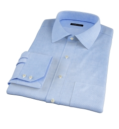 Thomas Mason Lt. Blue WR Houndstooth Fitted Shirt