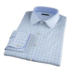 Thomas Mason Aqua Multi Check Fitted Dress Shirt