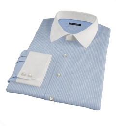 Thomas Mason Blue End on End Stripe Tailor Made Shirt