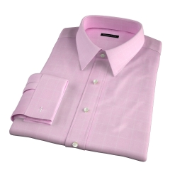Thomas Mason Pink Prince of Wales Check Fitted Dress Shirt