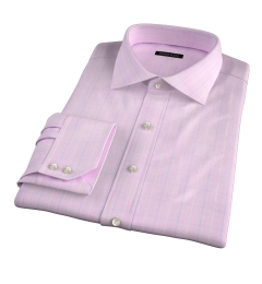 Carmine Pink Prince of Wales Check Men's Dress Shirt