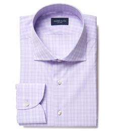 Thomas Mason Goldline Lavender Glen Plaid Custom Dress Shirt