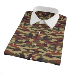 Fatigue Camouflage Print Short Sleeve Shirt