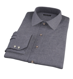 Canclini Charcoal Herringbone Flannel Dress Shirt
