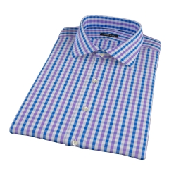 Purple and Blue Gingham Short Sleeve Shirt