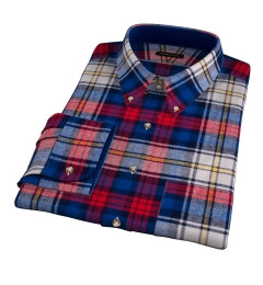 Red and Blue Plaid Country Flannel Fitted Dress Shirt