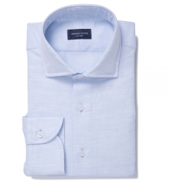 Portuguese Light Blue Cotton Linen Herringbone Fitted Shirt