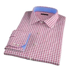 Canclini Red Blue Check Linen Men's Dress Shirt