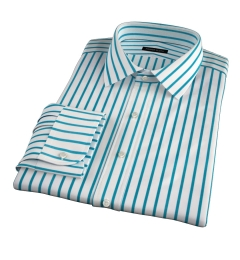 Canclini Teal Wide Stripe Dress Shirt