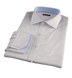 Portuguese Beige Cotton Linen Herringbone Custom Made Shirt