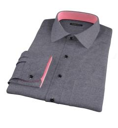 Canclini Charcoal Herringbone Flannel Custom Dress Shirt