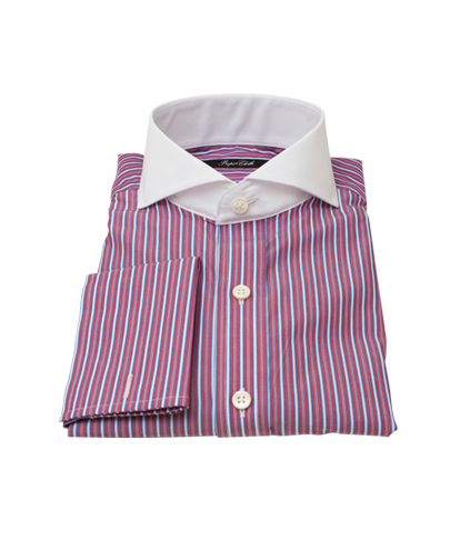Cranberry and Blue Multi-Stripe Dress Shirt 