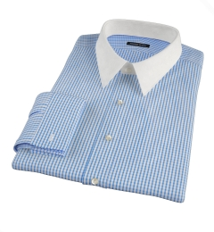 Canclini Royal Blue Medium Grid Fitted Dress Shirt