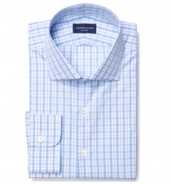 Novara Ocean Blue 120s Check Custom Made Shirt