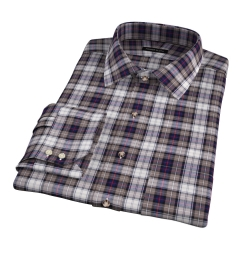 Jackson Brown and Navy Plaid Flannel Dress Shirt