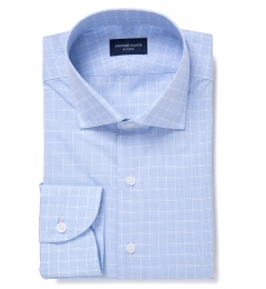 Firenze Light Blue Multi Grid Men's Dress Shirt