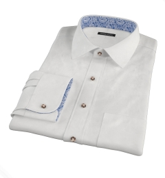 Canclini Peached White Stretch Twill Men's Dress Shirt