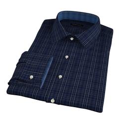 Dark Blue Melange Plaid Fitted Shirt
