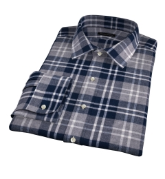 Navy and Cinder Large Plaid Flannel Fitted Dress Shirt
