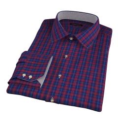 Vincent Blue and Scarlet Plaid Men's Dress Shirt