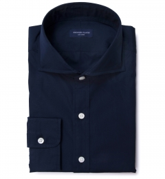 Thomas Mason Navy Luxury Broadcloth Men's Dress Shirt