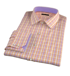 Canclini Orange San Sebastian Plaid Fitted Dress Shirt