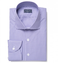 Charles Violet Small Check Fitted Shirt