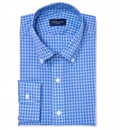 Grandi and Rubinelli Featherweight Blue Plaid Custom Made Shirt