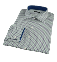Canclini Green and Blue Multi Gingham Men's Dress Shirt