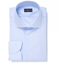 Chambers Light Blue Wrinkle-Resistant Check Fitted Dress Shirt