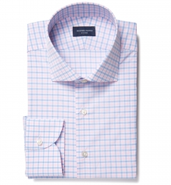 Thomas Mason Goldline Pink Multi Check Dress Shirt
